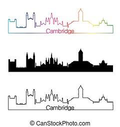 Cambridge skyline linear style with rainbow in editable...