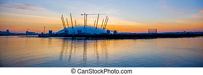 Panoramic of the O2 Arena at Sunrise