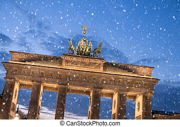 brandenburger tor and snowflakes in berlin