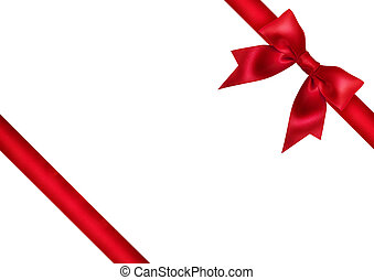 Red ribbon bow on white background Studio shot Free space...