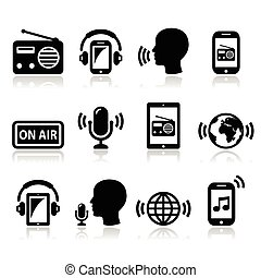 Radio, podcast app on smartphone - Vector icons set - radio...