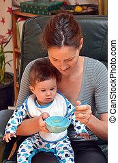 bebé, comida, alimento, para, el, primero, Time, ,