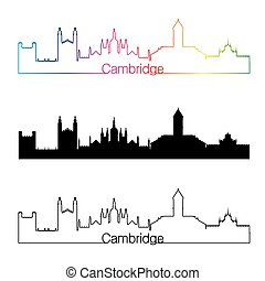 Cambridge skyline linear style with rainbow in editable...