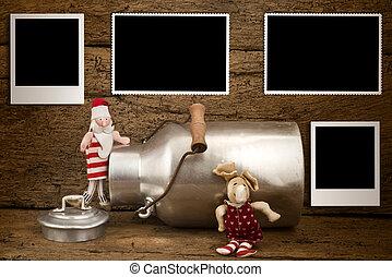 Christmas four empty photos frames card - Christmas photos...