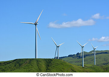 Te Apiti Wind Farm in Palmerston North, New Zealand -...