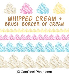 Whipped cream and border colorful brush. Vector set.