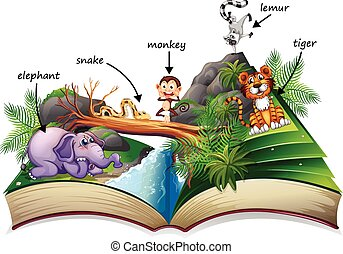 Animal book - Illustration of a popup story book with many...