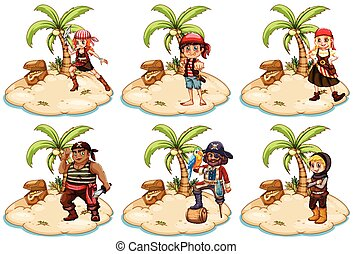Pirates - Illustration of set of pirates on the island