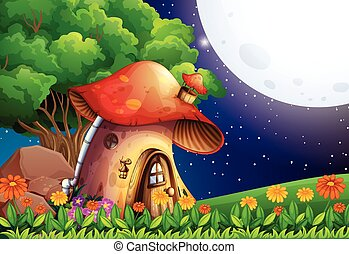 A mushroom house under the bright fullmoon