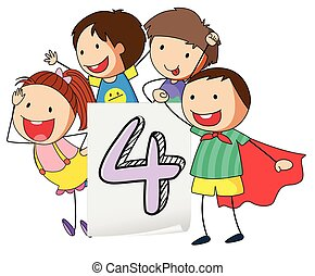 Number 4 - Illustration of number four with happy children