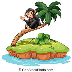 A monkey above the coconut tree in an island on a white...