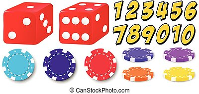 Game set - Set of game with numbers, chips and dice