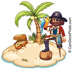 Pirate - Illustration of a pirate and parrot on the island
