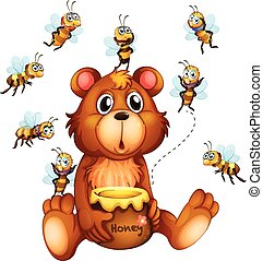 Bear and bees - Illustration of bees flying over the bear