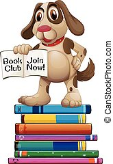 Dog and books - Illustration of a dog standing on the books