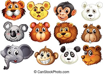 Animal heads - Illustration of many animal heads
