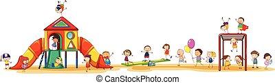 Playing set - Poster showing children enjoying the playset...