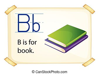 Alphabet B - Illustration of alphabet B is for book