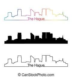 The Hague skyline linear style with rainbow in editable...