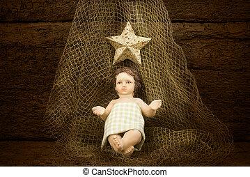 Christmas Child Jesus on a fishing net - Postcard Christmas...
