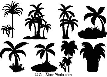 Silhouette palm trees - Illustration of different silhouette...