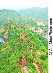 Amer Amber fort and Palace jaipur rajasthan india - majestic...