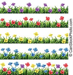 Flowers - Illustration of different color flowers and...