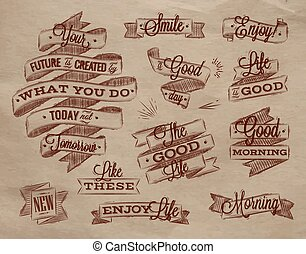 Ribbons lettering kraft - Set ribbons in vintage style with...