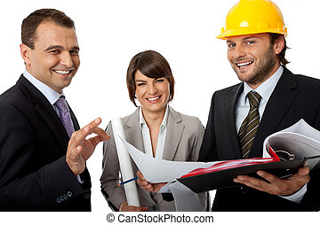 happy contractor and investors - happy three people wearing...