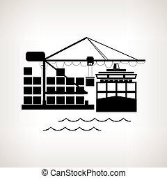 Silhouette cargo container ship and cargo crane , vector...