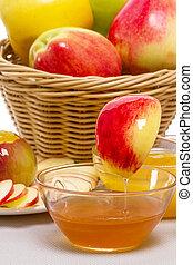 miel, manzanas