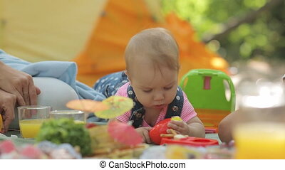 Sweet baby with her family at a picnic - Baby playing with...