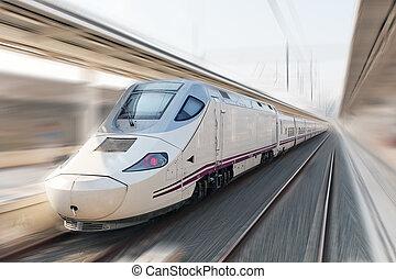 Modern Hi-Speed Passenger Train. Motion effect. - Modern...