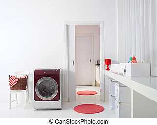 Interior of luxury laundry room l - Interior of luxury...