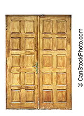 old wooden door for your design - old wooden door isolated...