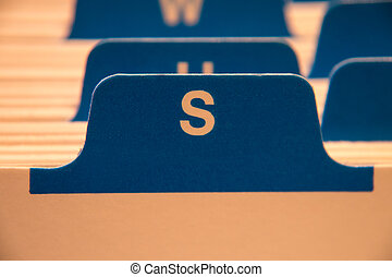 file folders with letter s