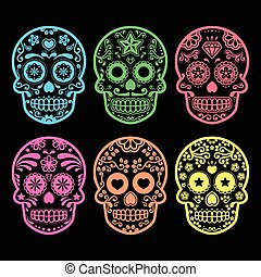Mexican sugar skull on black - Vector icon set of decorated...