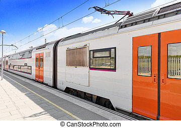Suburban railway train at the railways stantion - Suburban...