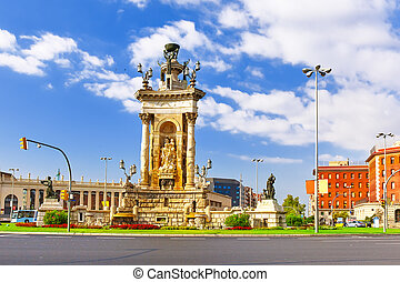 View in Barcelona on Placa De Espanya.( Square of Spain) -...