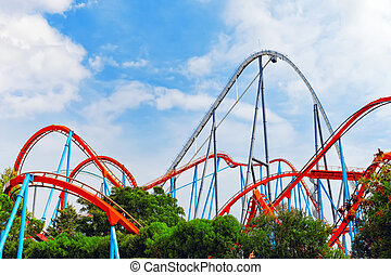 Roller Coaster in amusement park - Roller Coaster in funny...