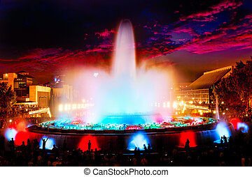 The famous Montjuic Fountain in BarcelonaSpain, Catalonia