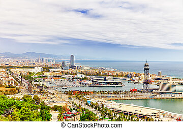 Panorama on Seaport from Montjuic...
