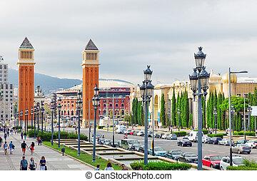Famous   Placa De Espanya in Barcelona. Spain