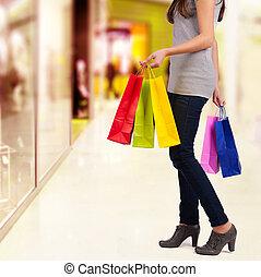 sacolas, mulher,  shopping, detalhe