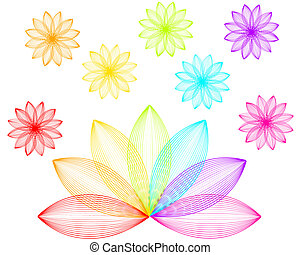 rainbow flowers - vector illustration of colorful flowers