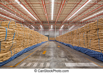 Big bag of sugar in distribution warehouse