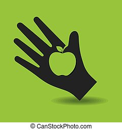 Human hand with apple symbol concept stock vector