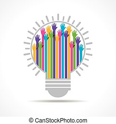 Colorful raised hand in the bulb - Colorful raised hand in...
