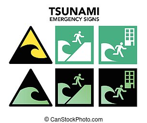 Tsunami evacuation signs - Vector illustration of Japanese...