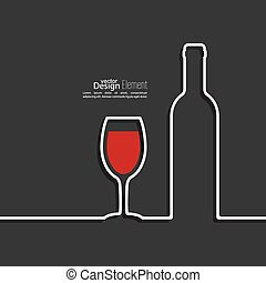 Ribbon in the form of wine bottle and glass with shadow and...